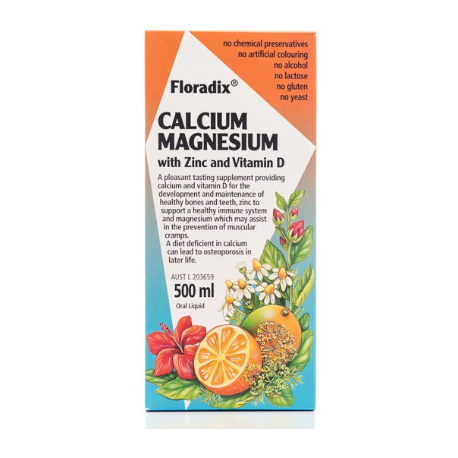 Floradix Calcium Magnesium Zinc + Vit D 500ml (ALSO available in 250ml)