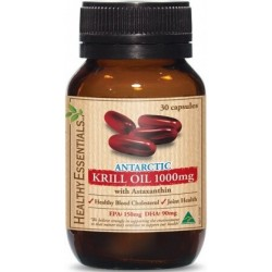 Healthy Essentials Antartic Krill 1000mg 30s Caps MFH $40.65 RRP $50.00 Save $9.35